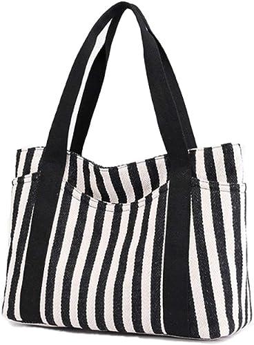 Fashion Women Gift Striped Canvas Shopping Bags Shoulder Bags Handbag