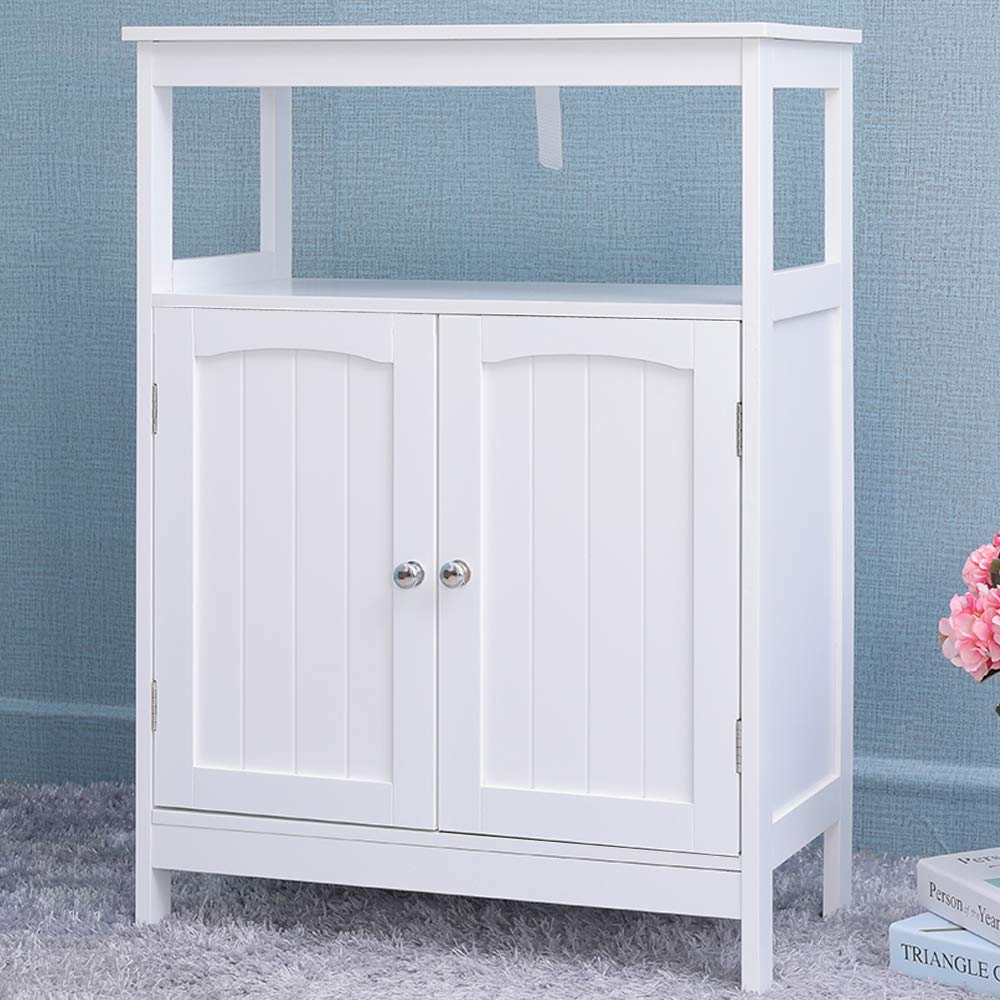 Iwell Bathroom Floor Storage Cabinet with 1 Adjustable Shelf, 3 Heights Available, Free Standing Kitchen Cupboard, Wooden Storage Cabinet with 2 Doors, Bookcase, Shoe Storage, White YSG002B