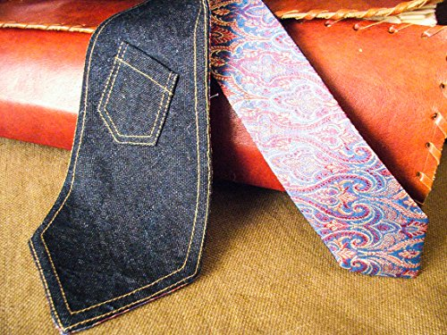 Denim Neck Tie With Little Pocket Handmade In Italy Double Face Necktie Double Sided Burning Man Steampunk Exclusive Brocade by Tapestry From An Asteroid