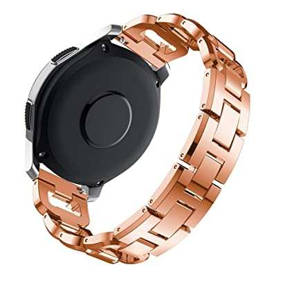CLSY D-Strap Compatible with 20mm Strap, Stainless Steel Metal Band Link Bracelet with Diamond, Replacement for Galaxy Watch 42mm/Active 40mm/Gear S2 ...