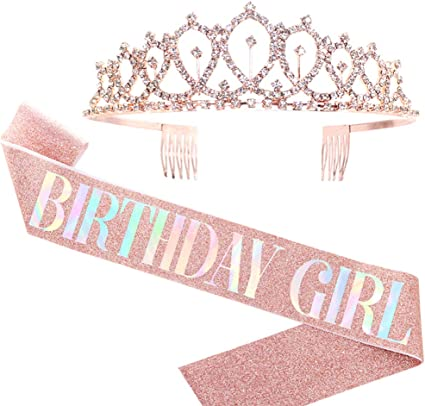 Birthday Queen Sash /& Rhinestone Tiara 30th Birthday Gifts for Women Silver Birthday Crown and Sash Fun Party Favors Birthday Party Supplies