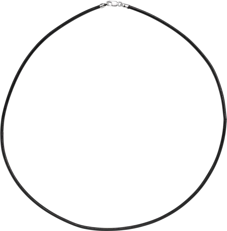 Bonyak Jewelry 14k White Gold 2 mm Black Leather 16 Cord