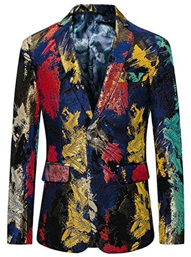 Top Alion Men's Business Notched Lapel Printed Color Block Suit Blazers