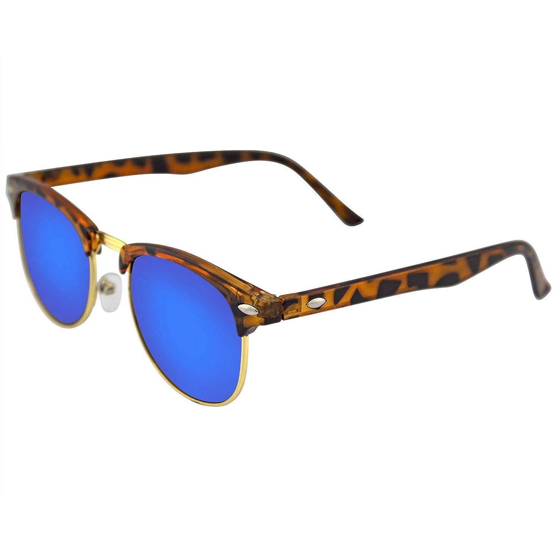 Emblem Eyewear - La Moda Retro Medio Marco Espejo Flash Gafas De Sol