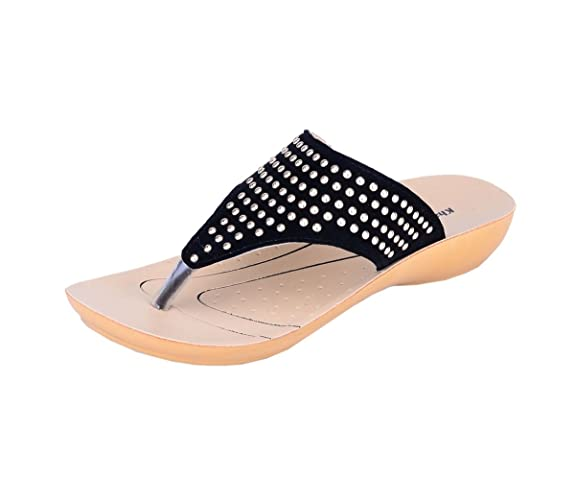 Khadims Womens Faux Leather Flats Women's Fashion Slippers at amazon