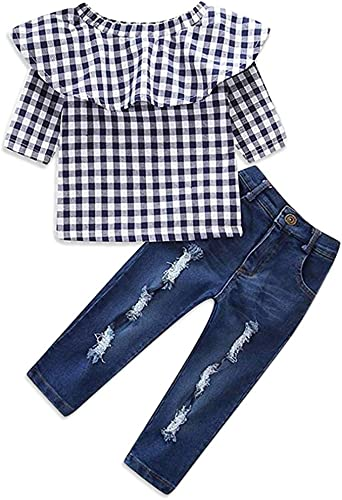 Girl Striped Off Shoulder Tops T-Shirt Denim Ripped Pants Clothes Set 0-10 Years Old Girls Outfits Set Baby Clothing Set