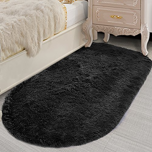 Lee D.Martin Ultra Soft Children Rugs Living Room Bedroom Oval Carpets Modern Shaggy Area Rugs Anti-Slip Backed Home Décor Rug,2.6' X 5.3',Black by Lee D.Martin