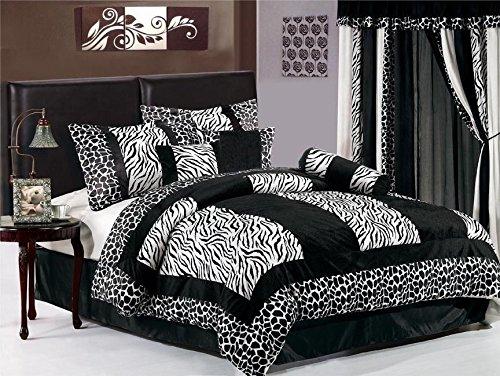 (8-Piece Black White Zebra Giraffe Micro Fur Patchwork Comforter Set, Queen)