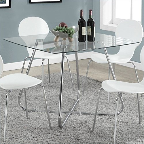 Monarch Specialties I 1070, Dining Table Chrome Metal Tempered 40″L