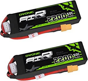 Ovonic 2 Packs 3S 11.1V 2200mAh 50C Lipo Battery Pack with XT60 for RC Evader BX Car RC Truck RC Truggy RC Airplane UAV Drone FPV