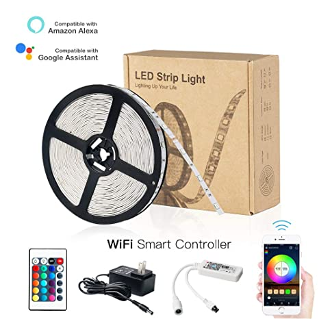 HaoDeng LED Light Strip RGB Strip Lights LED Tape Lights Compatible with Alexa and Google Home, ...