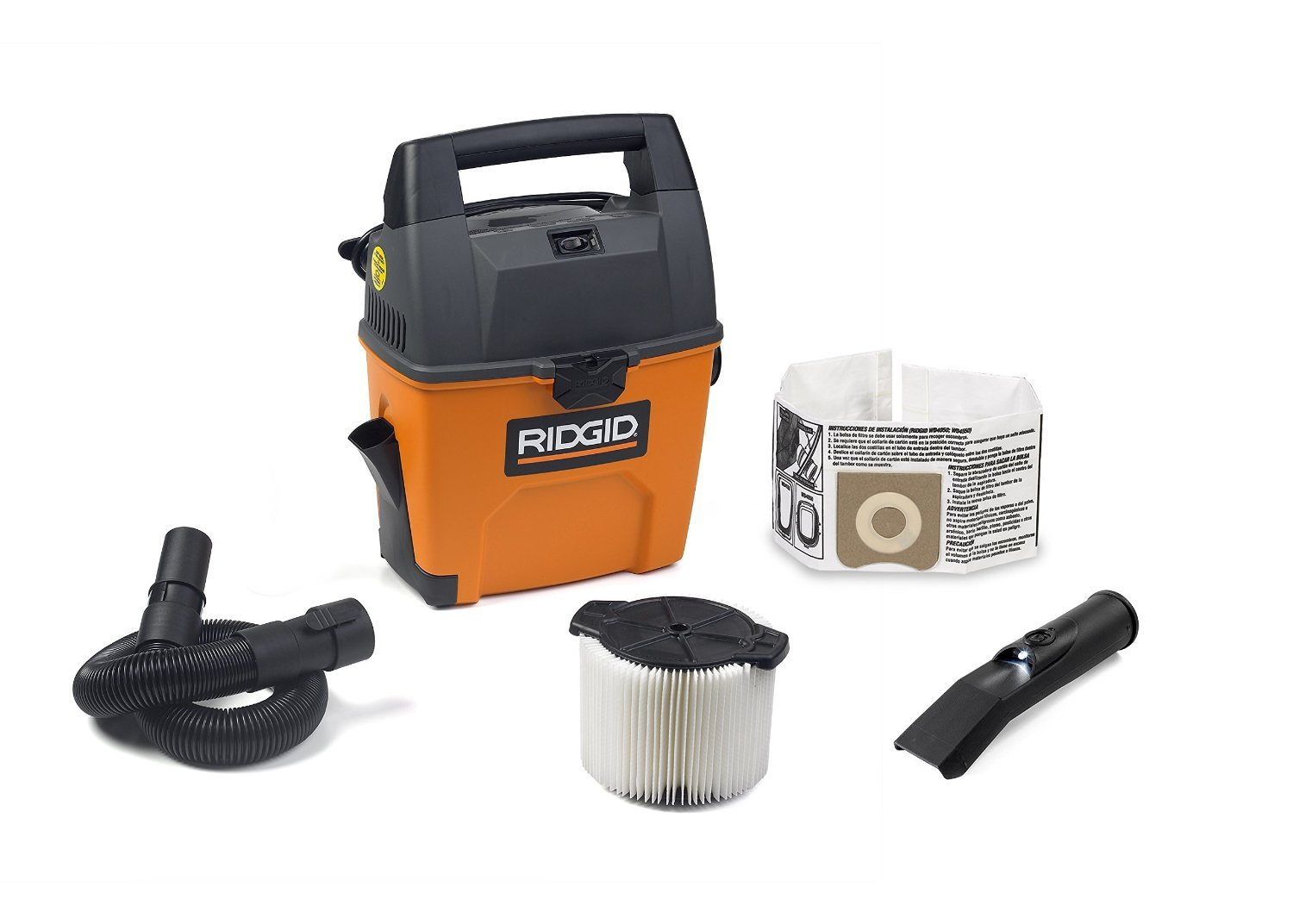 RIDGID Wet Dry Vacuums VAC3000 Portable Wet Dry Vacuum Cleaner for Car, Garage or In-Home Use, 3-Gallon, 3.5 Peak Horsepower Wet Dry Auto Vacuum Cleaner for Car by Ridgid