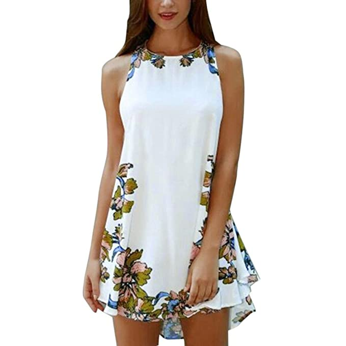BEAUTYVAN Short Mini Dress, 2017 Sexy Women Summer Casual Sleeveless Printed Party Cocktail Beach Short Mini Dress (S, White)
