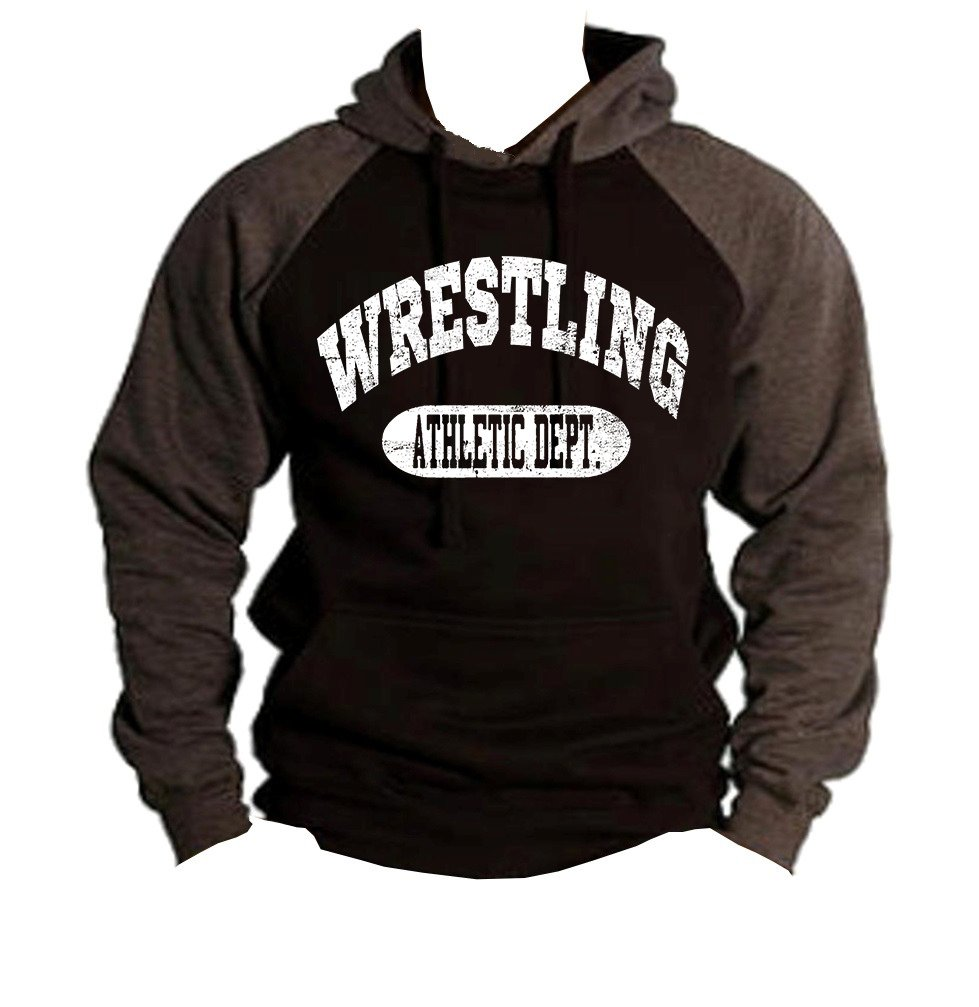 Interstate Apparel Men's Wrestling Athletic Dept. Black/Charcoal Raglan Baseball Hoodie Sweater 3X-Large Black by Interstate Apparel