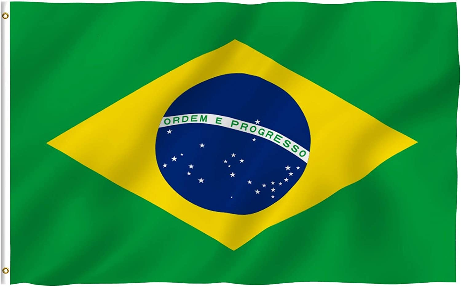 Anley Fly Breeze 3x5 Foot Brazil Flag - Vivid Color and Fade Proof - Canvas Header and Double Stitched - Brazilian National Flags Polyester with Brass Grommets 3 X 5 Ft
