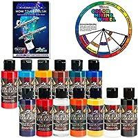 Createx TOP 12 Wicked Airbrush Color de pintura y reductor con el Master Cómo aerografiar el libro y la rueda de color
