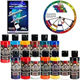 Createx TOP 12 Wicked Airbrush Paint Colors and Reducer with the Master How to Airbrush Book and Color Wheel