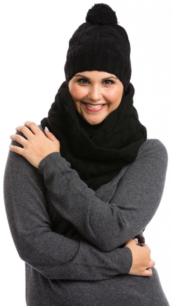 Infinity Scarf & Hat Set - 100% Tibetan Yak Wool - Citizen Cashmere (Black)