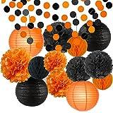 Happy Halloween Party Decorations Kit Paper Lanterns Tissue Paper Pom Poms Black Orange Kids Black and Orange Paper Garland Theme Halloween Series Halloween Decoration Paper Flower