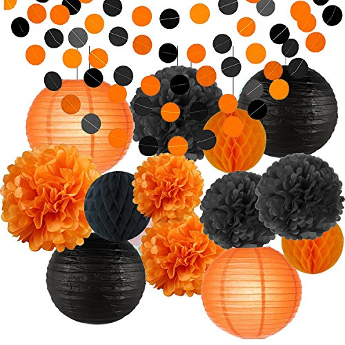 Happy Halloween Party Decorations Kit Paper Lanterns Tissue Paper Pom Poms Black Orange Kids Black and Orange Paper Garland Theme Halloween Series Halloween Decoration Paper Flower -