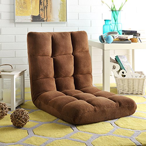 Loungie Supersoft Folding Adjustable Floor Relaxing/ Gaming Recliner Chair, Brown