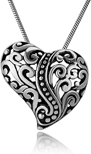 Genuine 925 Sterling Silver Filigree Heart Ball Drop Pendant Jewelry Necklace