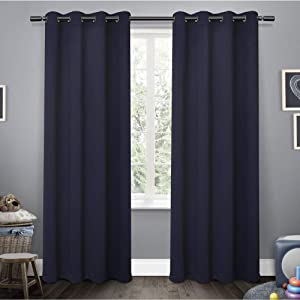 Exclusive Home Curtains Sateen Twill Woven Blackout Grommet Top Curtain Panel Pair, 52x63, Navy, 2 Piece