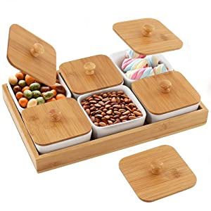 Creamic Snack Serving Tray 6 Piece with Tray Serving Platter Bamboo Lids and Pallets Removable Compartment Bowls with Snacks,Condiments,Moisture-proof Bowls for Food,Appetizers