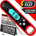 Alpha Grillers Instant Read Meat Thermometer For Grill And Cooking Best Ultra Fast Waterproof Digital Kitchen Food Probe With Backlight Calibration Internal Bbq Grilling Temperature Guide Included