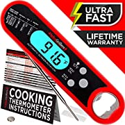 Alpha Grillers Instant Read Meat Thermometer for Grill and Cooking. Best Ultra Fast Waterproof Digital Kitchen Food Probe with Backlight & Calibration. Internal BBQ Grilling Temperature Guide Included