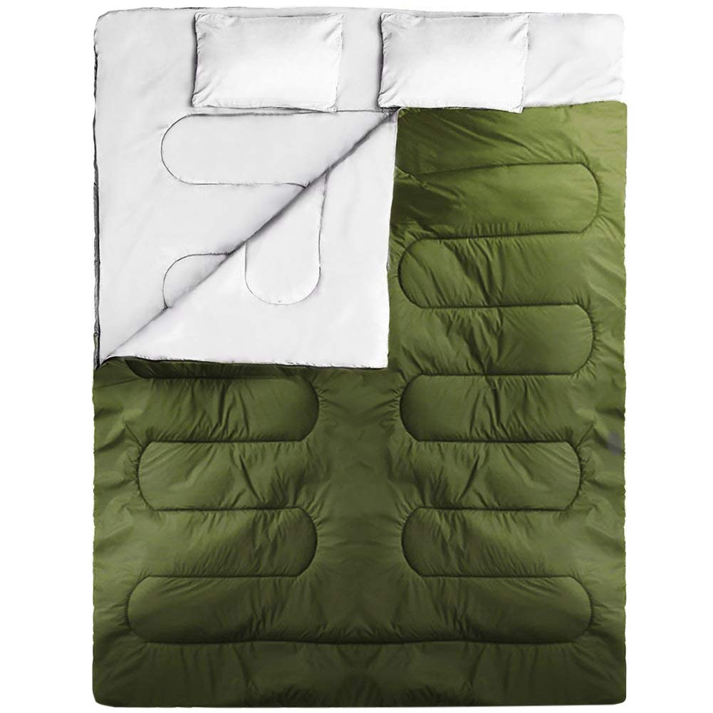 IDEALHOUSE Double Sleeping Bag, Queen Size 87'' X 59'', Waterproof Outdoor Backing Sleeping Bag with 2 Pillow and Compression Bag, Camping Envelope Sleeping Bag for All Season, Army Green …