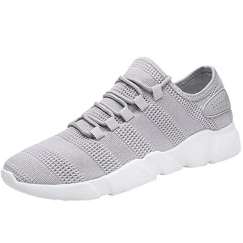 Zapatillas para Fitness deportes zapatillas de running para hombre, Gracosy Hombres Zapatillas de deporte Casual Lace Up zapatos Zapatos de gimnasia para ...