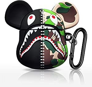 EZICOK Cool Camouflage Shark Mouth Zipper Bear Soft Silicone AirPod Case for AirPods, Cute Funny Street Fashion Shockproof Air Pods Cover with Keychain for Couples Boys Girls, for Apple AirPods 2 1