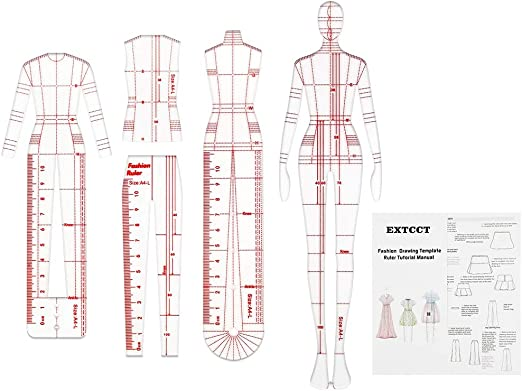 Amazon Com 4 Models Fashion Illustration Rulers Fashion Drawing Template Ruler Set Sewing Humanoid Patterns Design Clothing Measuring French Curve Rulers A4 Pattern Paper Draft Drawings Arts Crafts Sewing