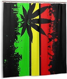 WINTERSUNNY Rasta Jamaican Flag Shower Curtain Weed Shower Curtain Rastafarian Flag Bathroom Set Marijuana Bathroom Accessories Cannabis Rasta Curtains Shower Hooks are Included 71 x 71