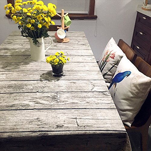 Bringsine Washable Cotton Linen Vintage Wooden Grain Pattern Rectangle Tablecloth Dinner Picnic Table Cloth Home Decoration Assorted Size (Patio Ideas Grass)