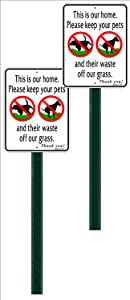 2 Pack Small, Discreet, Polite, This is Our Home, NO Poop, NO Pee, Aluminum Sign, Comes Attached to an 24