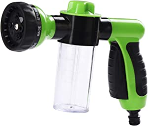 Spray Gun Nozzle, SUMLINK Garden Hose Attachment Spray Gun Nozzle with Reservoir for Soap or Fertiliser