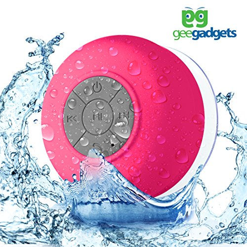 Portable Bluetooth Shower Speaker with Suction Cup - Waterproof, Built in Mic, Universal Phone & Tablet Compatibility - Pink - by Gee Gadgets Speaker Cup
