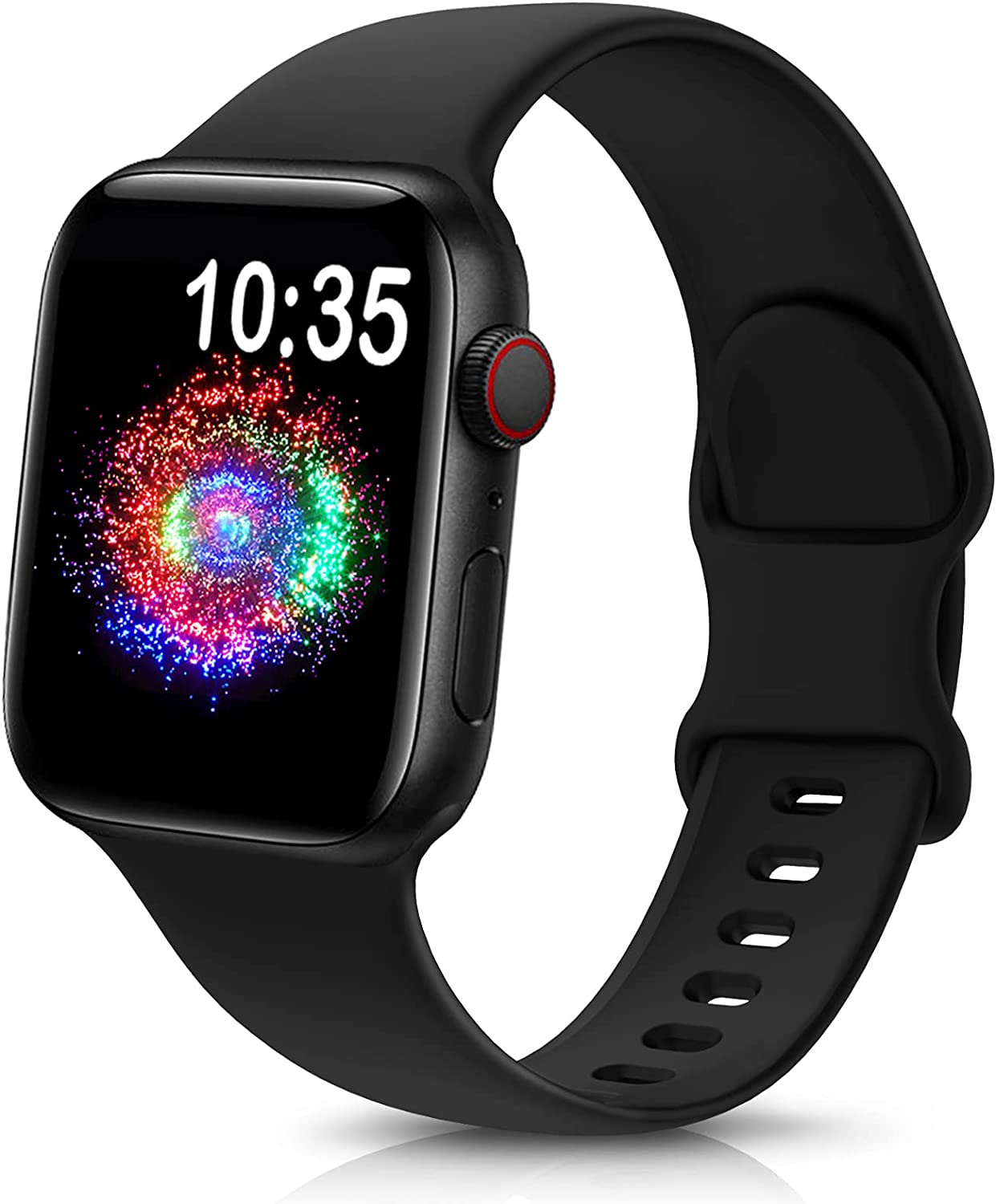 TreasureMax Sport Band Compatible with Apple Watch Bands 38mm 40mm 42mm 44mm, Soft Silicone Replacement Strap Compatible for Apple Watch Series 6 5 4 3 2 1 SE Men Women Black 38MM/40MM
