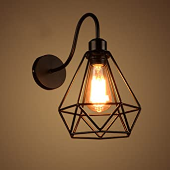 Nclon Industrielle Vintage Retro Wandleuchte,Metallkorb Wandlampe Einfache  Eisen Lampen Loft Wohnzimmer Wohnzimmer Korridor Lampen