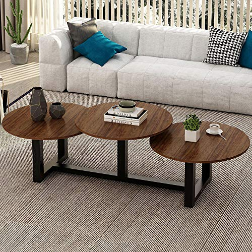 "Big Coffee Table, LITTLE TREE 62"" Modern Industrial Living Room Center Table, Dark Walnut"