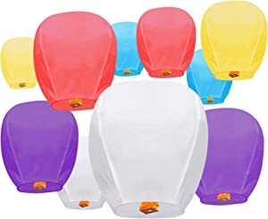 10 Pack Multicolor Chinese Lanterns Sky Paper Lanterns 100% Biodegradable Environmentally Friendly Wishing Lanterns for Wedding, Birthday Party, New Year Celebration and More
