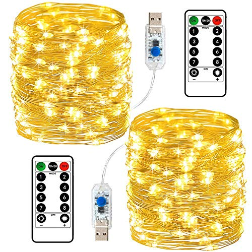 Da by 2 Pack USB Fairy Lights 33Ft 100 LEDs with Remote 8 Modes Dimmable and Timer,Copper Wire with Silver Coating,Twinkle Starry String Lights for Wedding, Party, Festival, Home ect.(Warm White)