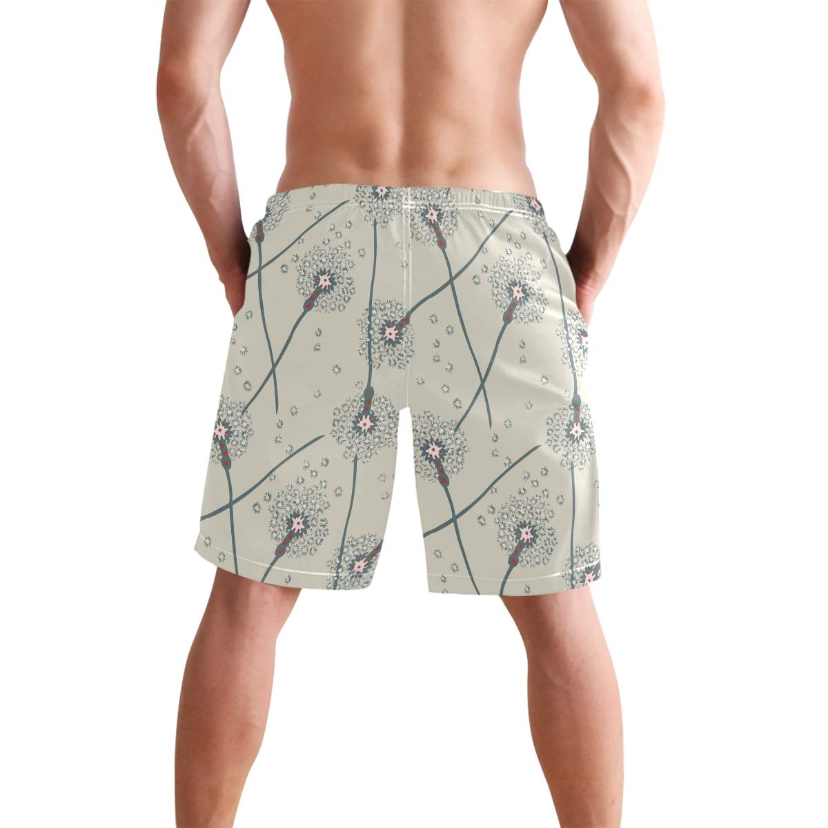 Humphy Albe Mens Decorative Flower Branches Quick Dry Bathing Suits Beach Board Shorts