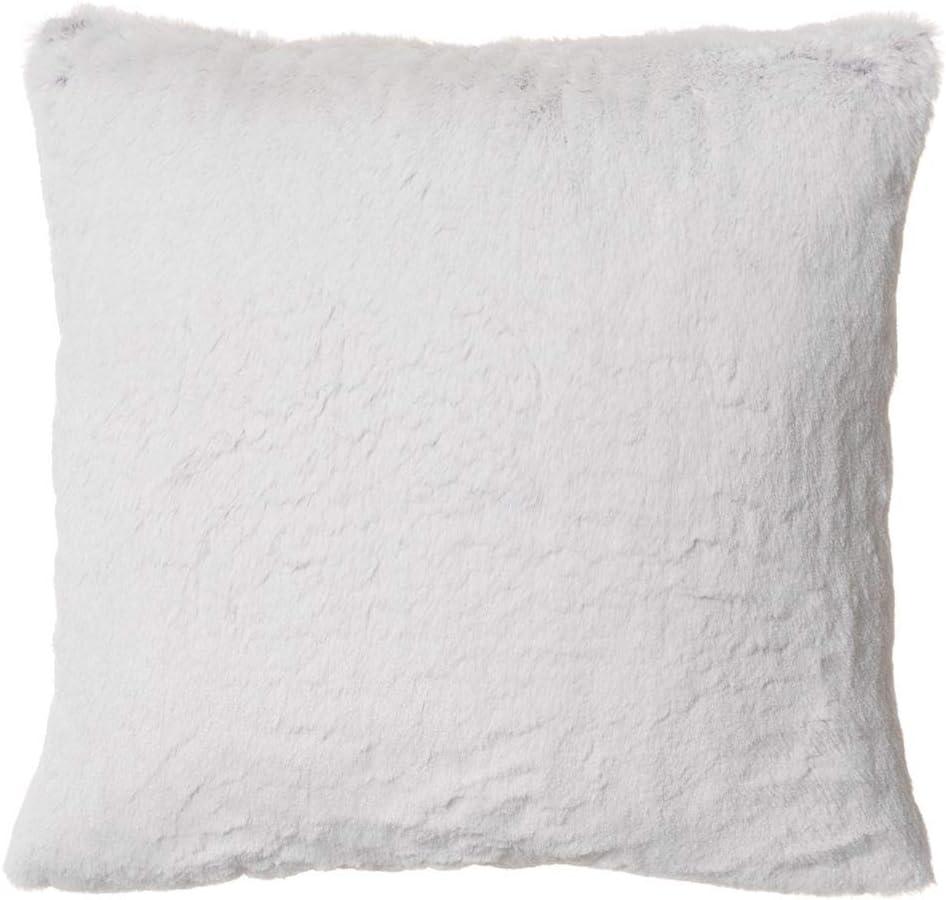 "North End Decor Faux Fur 18""x18"" with Insert, Silver-White Fox Throw Pillows, 18x18 Stuffed"
