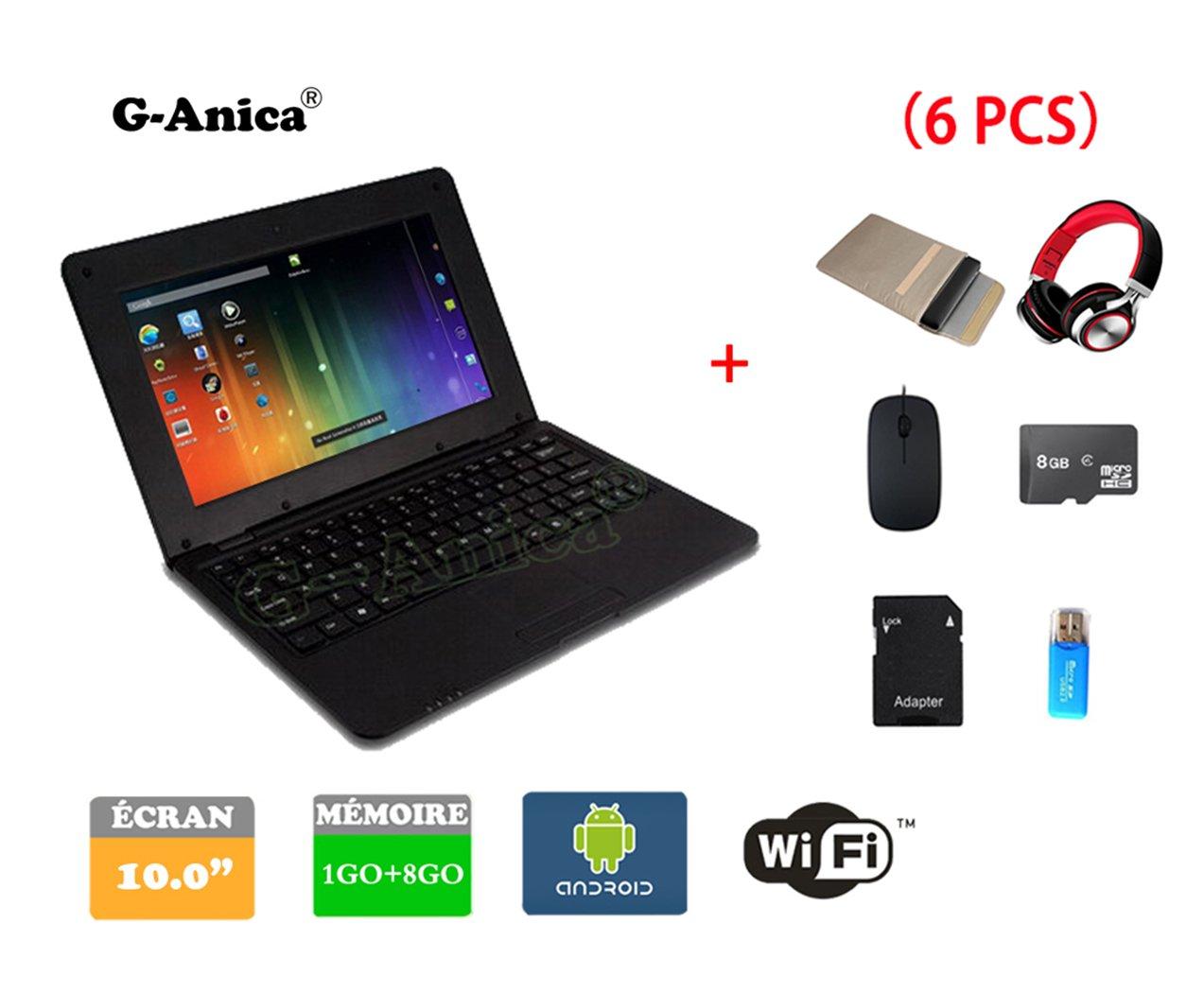 G-Anica Netbook Ordenador portátil Android 4.4.2 (WIFI, 1.5GHz 1GB de RAM, 8GB de disco duro),Bolsa de ordenador portátil+Ratón+Adaptar+Tarjeta SD+Lector de ...