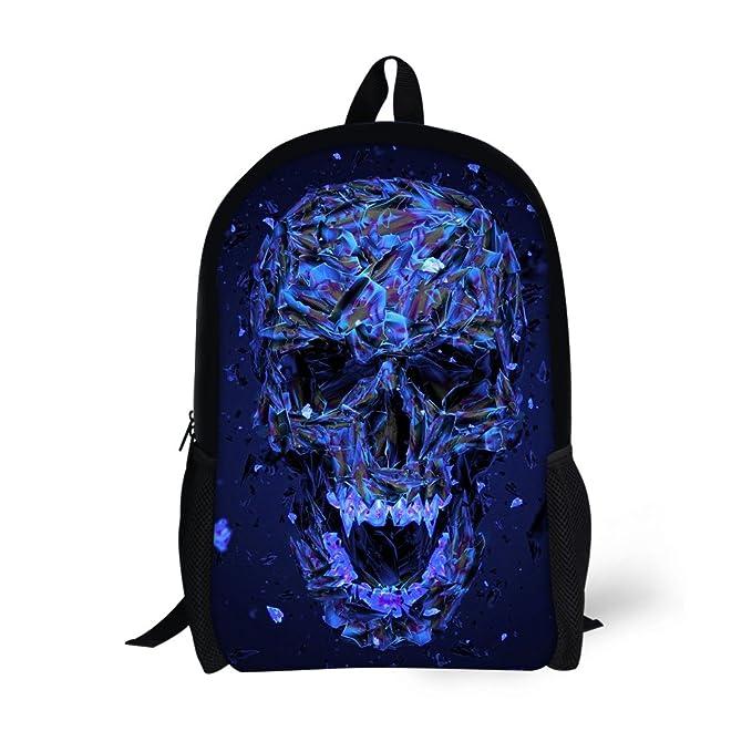 dc41f31829 UNICEU Crystal Skull Backpack Blue School Bag Shoulder Bookbag Fashion  Tavel Daypack for Kids Boys