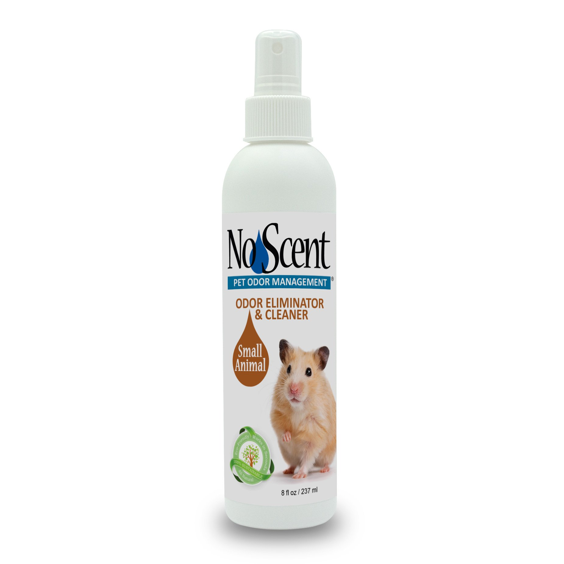 No Scent Small Animal - Professional Pet Waste Odor Eliminator & Cleaner - Safe All Natural Probiotic & Enzyme Formula Smell Remover for Hutches Tanks Enclosures Bedding Toys and Surfaces (8 oz)