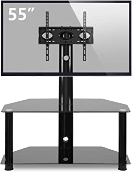 IANIYA TV Stand with Mount Entertainment Center Black Tempered Glass Universal Media Storage Stand Swivel Height Adjustable